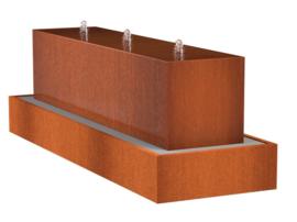 Cortenstaal ST waterblok met 3 fonteinen 3000x700x700mm.