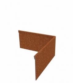 Hoekstuk  geplet uitwendig 90° Cortenstaal 300x300x150 mm. en 2 mm.dik afhalen of verzenden
