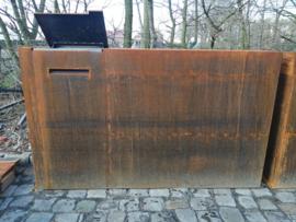 Cortenstaal wand incl L pakketbrievenbus 200x40x120cm