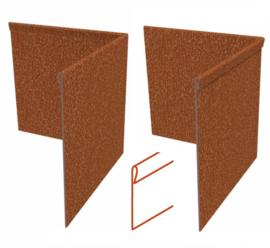 Hoekstuk Cortenstaal geplet 30x30x0,2x10cm