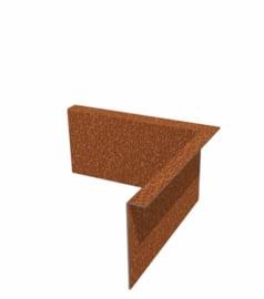 1 st. Kantopsluiting CorTen staal binnenhoek 100 mm gezet  x 290 mm. beenlengte 300 mm.  te bestellen bij strips