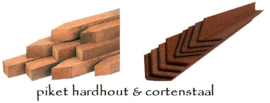Piketpalen hardhout en cortenstaal
