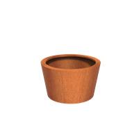 Cortenstaal plantenbak rond Tapse cilinder 100x60cm