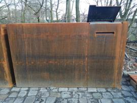 Cortenstaal wand incl R pakketbrievenbus 200x40x120cm