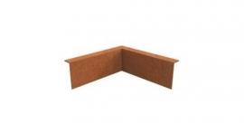 Cortenstaal hoekstuk ST 3 cm. gezet binnenhoek 90° 300x300x290 mm. en 2 mm.dik afhalen of verzenden