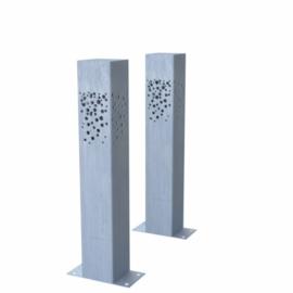 1 st Verzinkt staal  tuinlamp K4Z600  100x100x600mm. incl. connector en LEDlight en gratis bezorgen.