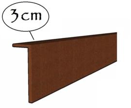 Kantopsluiting Cortenstaal 3cm gezet 230x0,2x10cm