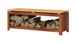 Cortenstaal houtopslag/tuinbank 120x40x43cm