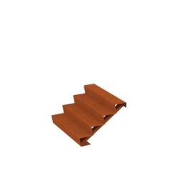 Cortenstaal trap 4 treden B125xD96xH68cm