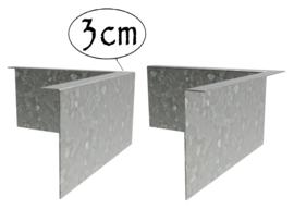 Hoekstuk Verzinkt staal 3cm gezet 30x30x0,2x10cm