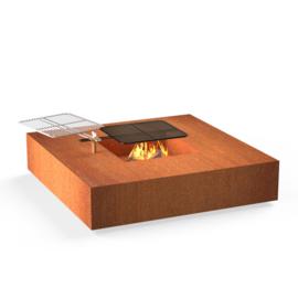 Cortenstaal ST Vuurtafel/BBQ Forno 1200x1200x380mm. Showmodel zelf afhalen