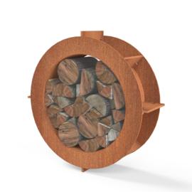 Cortenstaal houtopslag  Ø 80x25cm