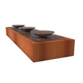 Cortenstaal ST watertafel, 3 fontein schalen 4000x1000x400 mm.