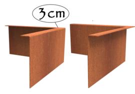 Hoekstuk Cortenstaal 3cm gezet 30x30x0,2x10cm