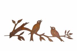 Schroeftak met 2 vogels  Iron ecoroest  40 x 15 cm