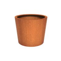 Cortenstaal plantenbak rond Tapse cilinder 120x100cm