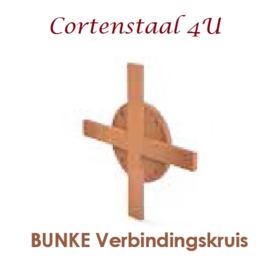 Cortenstaal houtopslag Bunke verbindingskruis