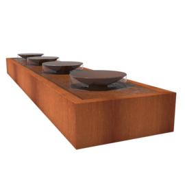 Cortenstaal Watertafel 500x100x40cm