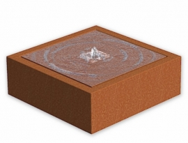 Cortenstaal ST watertafel met LED bronverlichting 1000x1000x400 mm.