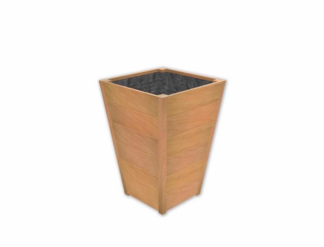 Plantenbak ST hardhout Sevilla Taps L600xB600xH860mm gratis bezorgd