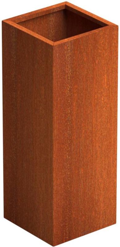 Cortenstaal plantenbak ST L370 x B370 x H1000xD1,5mm. rand 30x20mm.
