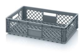 EO6415 | AUER eurobak met geperforeerde bodem en wanden, afm. 60x40x15 cm (lxbxh), RAL 7001 zilvergrijs, inhoud 28 l, gewicht 1,26 kg, fabrieksgarantie 2 jr