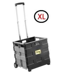 67059 | SUPER-FOLD-N-ROLL vouwboxtrolley XL (vouwkrat op wielen), max. belasting 35 kg, inhoud 50 liter, krat afm. 42x37,5x8/40,5 cm (bxdxh), kleur zwart-grijs, eigen gewicht 3,6 kg