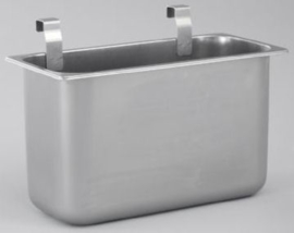 0163275 | HUPFER afvalbak met ophangbeugels, roestvrijstaal, geschikt voor AMM (AfruimMultiMobil-3 bladen) wagenmodellen