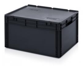 ESD-ED8642-HG | AUER eurobak antistatisch, gesloten uitvoering met scharnierend deksel, afm. 80x60x44 cm (lxbxh), volume 172 l, stapelbaar, RAL 9017 zwart, gewicht 9,23 kg