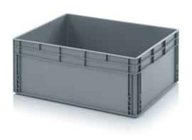 EG8632-HG | QUALITY BOX eurobak gesloten uitvoering, afm. 80x60x32 cm (lxbxh), handgrepen gesloten, stapelbaar, zilvergrijs, inhoud 130 liter, gewicht 4,9 kg