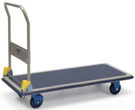 5121103 | PRESTAR platformwagen met opklapbare duwbeugel, stalenplaat laadvlak met anti-slipbekleding, afm. 1210x610x990 mm (lxbxh), draagvermogen 300 kg, gewicht 28,5 kg