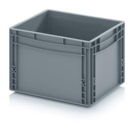 EG4327-HG | AUER eurobak gesloten uitvoering, afm. 40x30x27 cm (lxbxh), handgrepen gesloten, stapelbaar, zilvergrijs, 26 liter, gewicht 1,41 kg