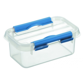 72401211 | SUNWARE Q-Line opbergbox 0,5 liter, afm. 15x10x6,3 cm (bxdxh), transparant/blauw, deksel met clipsluiting, stapelbaar