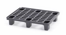 Lichtgewicht kunststof pallet, 800x600x130 mm (lxbxh), 6 poten, kleur zwart