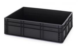 ESD-EG8622-HG | AUER eurobak antistatisch, gesloten uitvoering, afm. 80x60x22 cm (lxbxh), volume 87 l, stapelbaar, RAL 9017 zwart, gewicht 4,59 kg
