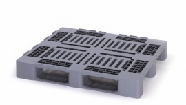 Hygiëne kunststof pallet, 1200x1000x160 mm, 3 sledes niet dicht gelast, kleur zilvergrijs