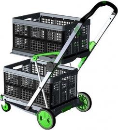 399052 | CLAX inklapbare vouwkrattrolley, kleur grijs-groen, draagvermogen 60 kg, afm. 890x550x1025 mm (lxbxh), incl. 2 vouwkratten afm. 540x380x265 mm (lxbxh), kratinhoud 46 liter, gewicht 6,7 kg