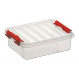 77900605 | SUNWARE Q-Line opbergbox 1,0 liter, afm. 20x15x6 cm (bxdxh), transparant/rood, stapelbaar