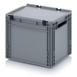 ED4332 | AUER eurobak met scharnierend deksel en sluitingen, afm. 40x30x33,5 cm (lxbxh), handgrepen open, stapelbaar, zilvergrijs RAL 7001, volume 30 liter, gewicht 2,01 kg, fabrieksgarantie 5 jr