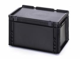 ESD-ED4322-HG | AUER Euro-bak ESD antistatisch, gesloten uitvoering met scharnierend deksel, afm. 400x300x235 mm (lxbxh), handgrepen gesloten, volume 20 l, stapelbaar, RAL 9017 zwart, gewicht 1,95 kg, fabrieksgarantie 5 jr