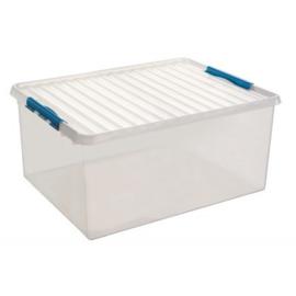 83300611  | SUNWARE Q-Line opbergbox met handgreep, clipsluiting, afm. 800x500x350 mm (bxdxh), 120 liter, transparant/blauw
