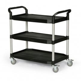 5121303 | TAUROTRADE etagewagen van zwart kunststof/aluminium, 3 laadvlakken afm. 915x520 mm (lxb), draagvermogen 240 kg, 4 zwenkwielen