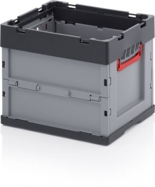 FB4332 | AUER euro-vouwbak zonder deksel, afm. 40x30x32 cm (lxbxh), handgrepen open, stapelbaar, RAL 7001 zilvergrijs/RAL 7016 antracietgrijs, volume 31 l, gewicht 2,17 kg