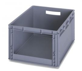 SLK6427 | AUER eurobak met raamopening 31x18 cm, afm. 60x40x27 cm (lxbxh), handgrepen open, stapelbaar, RAL 7001 zilvergrijs, gewicht 2,09 kg