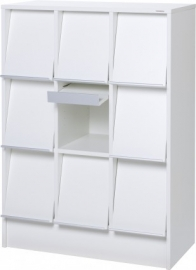 E31078 | PRIMA OFFICE Classic Quadro tijdschriften- folderkast, 9 vakken met schuine klep, decor witlaminaat, afm. 830x400x1150 mm (bxdxh)