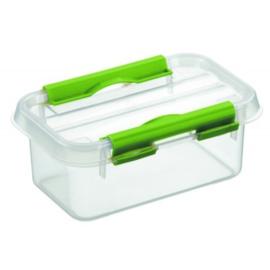 72401261 | SUNWARE Q-Line opbergbox 0,5 liter, afm. 15x10x6,3 cm (bxdxh), transparant/natuur-groen, deksel met clipsluiting, stapelbaar