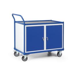 1101003 | TAUROFLEX werkplaatswagen met 2 afsluitbare kasten, afm. 1200x600x1030 mm,  schuine duwbeugel, breedte laadvlak 600 mm, 2 verstelbare legborden per kast, 2 geremde zwenk- en 2 bokwielen, frame poedercoating