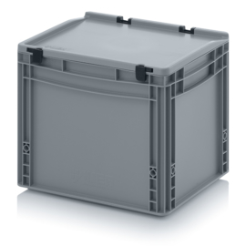 ED4332-HG | AUER eurobak met scharnierend deksel en sluitingen, afm. 40x30x33,5 cm (lxbxh), handgrepen gesloten, stapelbaar, zilvergrijs RAL 7001, volume 30 liter, gewicht 2,01 kg, fabrieksgarantie 5 jr