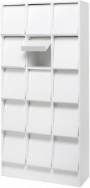 E31W36 | PRIMA OFFICE Classic Expo tijdschriften- folderkast, 15 vakken met schuine klep, decor witlaminaat, afm. 830x400x1800 mm (bxdxh)
