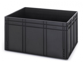 ESD-EG8642-HG | AUER eurobak antistatisch, gesloten uitvoering, afm. 80x60x42 cm (lxbxh), volume 172 l, stapelbaar, RAL 9017 zwart, gewicht 6,93 kg